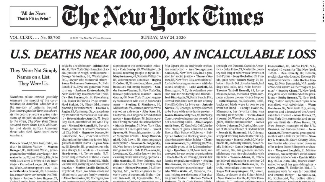 Photo of New York Times publishes names of 1,000 lives lost to coronavirus