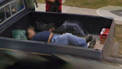 Photo of Google Maps Street View: Man's unfortunate position in back of pick-up truck spotted