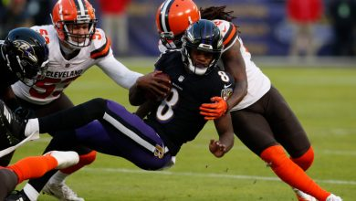 Photo of Browns score vs. Ravens: Lamar Jackson overcomes cramps to lead Baltimore to thrilling win over Cleveland