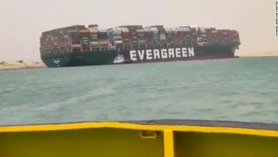 Photo of Suez Canal blocked as massive container ship runs aground